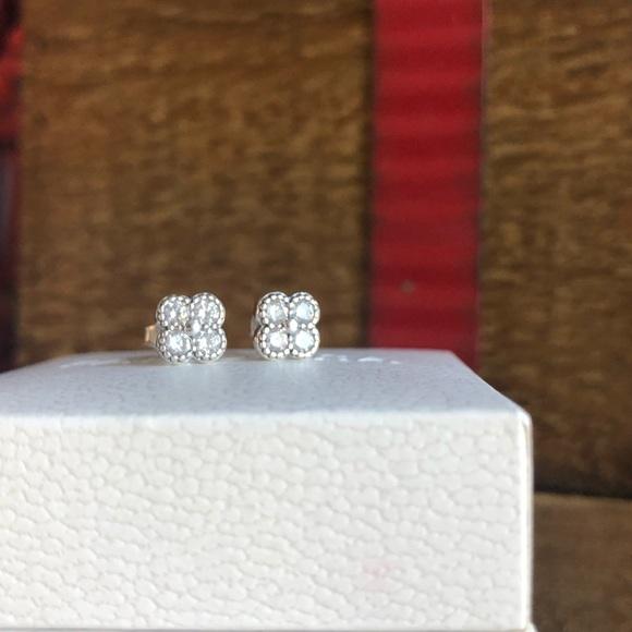 38cb81121 Pandora Jewelry | Earrings Oriental Blossom Clear Cz | Poshmark
